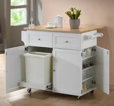 kitchen solid wood kitchen island kitchen cart with trash bin