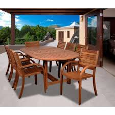 amazonia newcastle 9 piece teak patio dining set sc dian rect