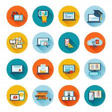 icone de bureau gratuit e learning icône plate télécharger des vecteurs gratuitement