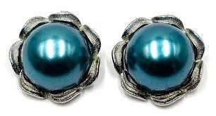 vintage earrings vintage big teal pearl earrings