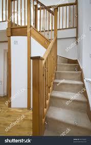 detail massive wooden staircase modern duplex stock photo 42774655