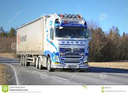 volvo semi truck price blue and white volvo fh semi truck transport at spring editorial