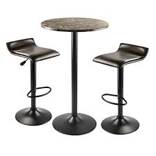 round bar table and stools amazon com winsome wood cora 3 piece round pub table with 2 swivel