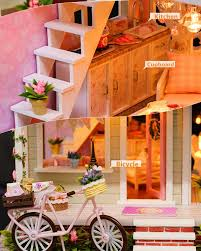 cuteroom diy wooden dollhouse miniature with house furniture toy