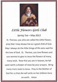 Prayer To St Therese The Little Flower - little flowers of jesus our first annual tea party with the