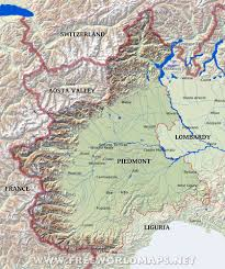 Alps Mountains Map Region Of Piedmont Piemonte Italia Mia