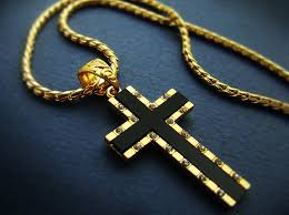 cross chain necklace gold images 1 57 quot mens cross pendant necklace 18k gold plated mens black onyx jpg