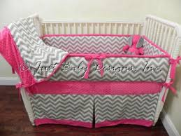 Pink Chevron Crib Bedding Baby Bedding Crib Set Abbie Gray Chevron Pink Just Baby