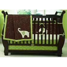 Green And White Crib Bedding Charming Wooden Baby Crib Interior Design Gray Laminated Floor