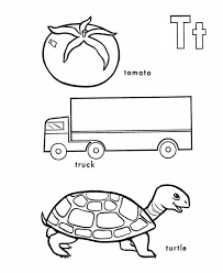 tomato truck and turtle in learning letter t coloring page bulk