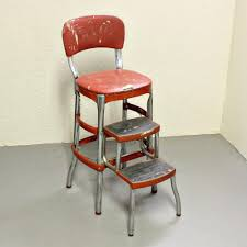 Retro Red Kitchen Chairs - cosco retro black chair with step stool cabinet hardware room