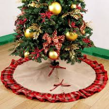 amazon com ourwarm burlap christmas tree skirt ruffled plaid