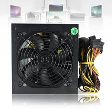 computer power supply fan 550w pc psu power supply black gaming 120mm fan blue led 20 24pin