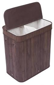 Wicker Clothes Hamper With Lid Amazon Com Birdrock Home Double Laundry Hamper With Lid And Cloth