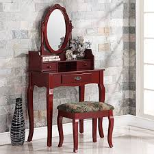 Oak Makeup Vanity Table 2 Ribbon Wood Makeup Vanity Table Set With 3 Drawers Swivel
