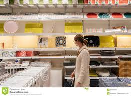 shopping for kitchen furniture shopping in ikea furniture store editorial stock photo
