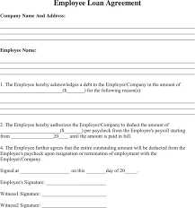 employee loan agreement template free best template u0026 design images