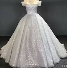cinderella wedding dress white and shiny couture