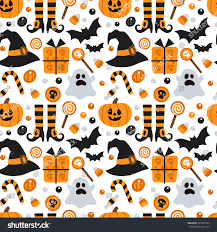 halloween children background vector seamless pattern halloween pumpkin ghost stock vector