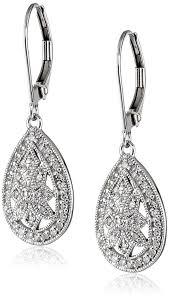 diamond teardrop earrings 10k white gold filigree teardrop diamond earrings 1 4