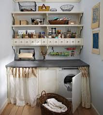 Vintage laundry room decor ideas with vintage wall shelves