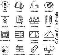 vector clipart of creative process and tools line icons set