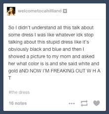 is freaking out over the color changing dress business