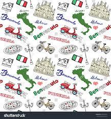 Milan Italy Map Milan Italy Seamless Pattern Hand Drawn Stock Vector 364552334