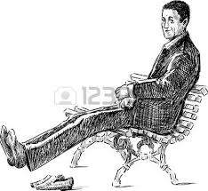sketch of an young man on a park bench royalty free cliparts