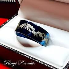 Workout Wedding Rings by Real Antler Tungsten Ring Blue Antler Ring Tungsten Wedding Bands