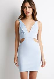 forever 21 cutout bodycon dress in blue lyst