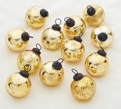 of 12 gold mercury glass ornaments