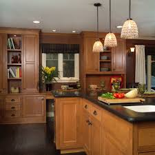 sparkling honey maple cabinets with beams floating beadboard