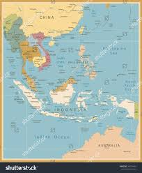 Southeast Map Southeast Asia Map Detailed Vintage Colors Stock Vector 349754363