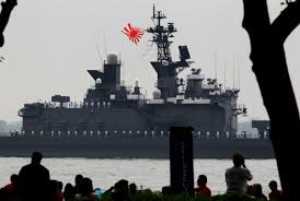 Japanese Navy Flag People Watch As The Japanese Navy Ship Js Shirane