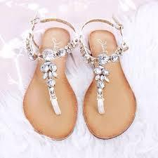 silver gem embellished t bar sandals flat sandals shoes