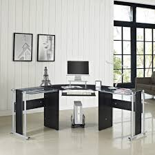 Black Corner Computer Desks For Home Office Glass Office Desk Ideas Using Black Glass For Corner