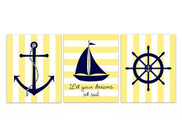 Sailboat Decor For Nursery Navy And Yellow Nautical Nursery Wall Decor Declan