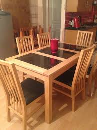 bentley atlantis solid beech and granite dining table with 6