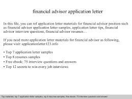 Financial Advisor Resume Samples Financial Advisor Application Letter
