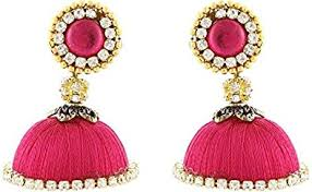 pink earrings buy vani pink shine silk thread jhumki earrings for women f8