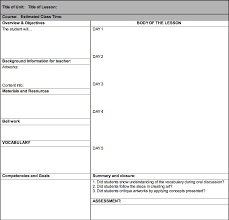 lesson plan templates for secondary teachers schedule template free