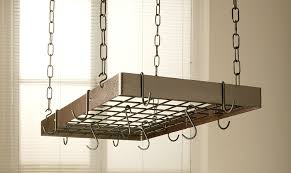 Hanging Bakers Rack Amazon Com Hammered Copper Rectangle Pot Rack With Black Kitchen