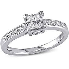walmart white gold engagement rings miabella 1 4 carat t w princess and cut engagement