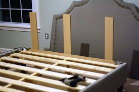 How To Build Bed Frame And Headboard Diy Upholstered Platform Bed With Curved Fabric Headboard