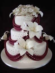 floral bouquet with burgundy draping on cake central baby shower