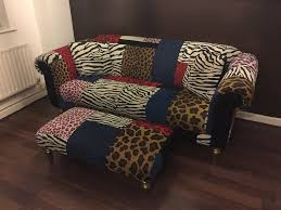 Animal Print Furniture by Animal Print Sofa With Foot Stool For Sale In Hayes London