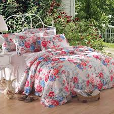 Poppy Bedding Pale Pink Poppy Red And Blue Spring Scene Flower Print Asian