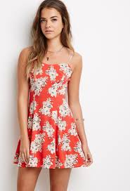 forever 21 floral print cami dress in red lyst