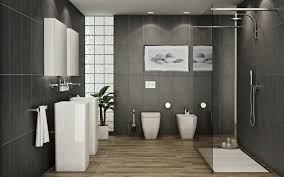 contemporary bathroom with laminated wood flooring also filled